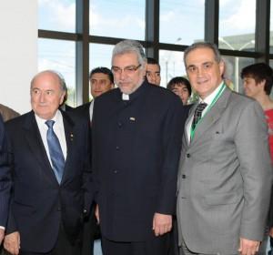 Presidente da FIFA, Joseph Blatter; Presidente do Paraguai, Fernando Lugo; Vice-presidente da Rede Bourbon Hotéis & Resorts, Alceu Vezozzo Filho