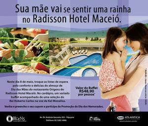 Flyer promocional do Dia das Mães do Radisson Hotel