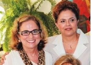 A aniversariante Hildegard Angel e a presidente Dilma Rousseff