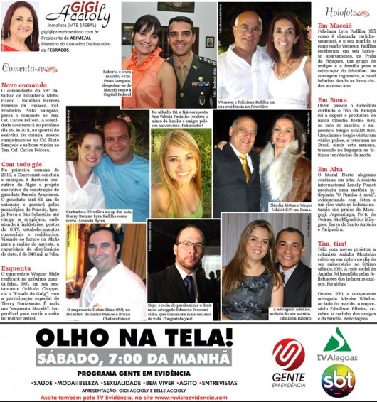 Coluna Gigi Accioly - Jornal Primeira Edição