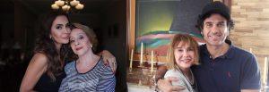 (esquerda) Digital influencer Claudia Métne e sua mãe, Neuza Métne; (direita) estilista Telma Monteiro e o filho, o extraordinário ator, Eriberto Leão