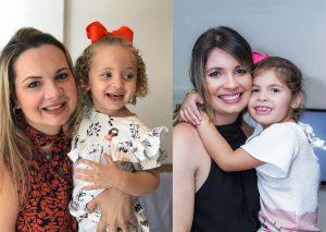 esquerda) Advogada Raquel Góes Wanderley e a filha Sofia; (direita) dentista Ângela Líbia Araújo e sua filha, Luísa
