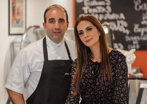 Chef Elias Chamié e a digital influencer Claudia Métne